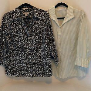 Two Chico's No Iron Shirts, Size 3 (XL/16)